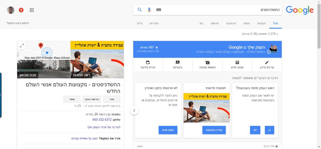 גוגל לעסק שלי החשדניסטים